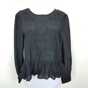 Zara The Romantic Blouse Ruffle Trim Black Sz